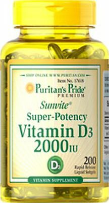 Vitamin D3 2000 IU x 200 Softgels High Potency Mega Strength - 24HR DISPATCH