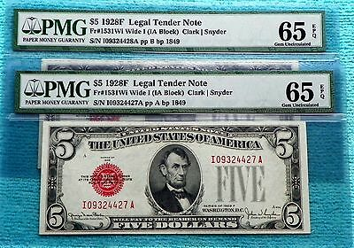 1928-F CU-65 EPQ 2-Consecutive $5 Five Dollar Red Seal Note IA Block Fr#1531