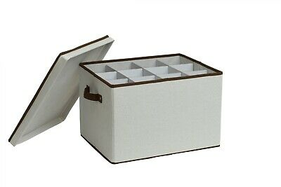 NEW Stemware Storage Box Wine Champagne Collapsible Dividers 12 Glasses Large