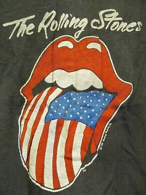 VINTAGE THE ROLLING STONES 1981 NORTH AMERICAN TOUR T-SHIRT sz L ~ HANES 100% CO