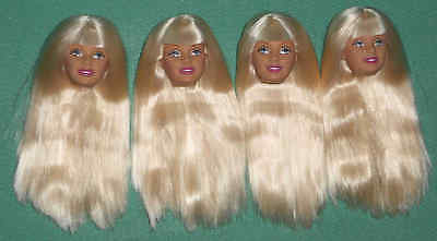 4 Mint Platinum Blonde Barbie Heads ~ Create Your Own Ooak! 2002 Regular Size!