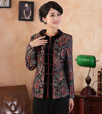Free Shipping 2 Colors  Lady's Brocade Velour Jacket Coat Outer Wear M-3XL