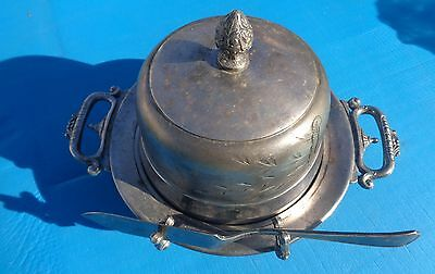 Covered Butter Dish Waldorf Quadruple Silverplate with Gorham Knife