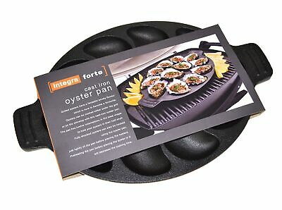 NEW OYSTER PAN CAST IRON Plate Tray Dozen Seafood Shell Fish Dish Grill Holds 12