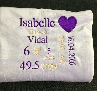 Personalised Baby's Embroidered Blanket With Birth Details