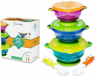 Stay Put and Spill Proof Suction Toddler Baby Bowls Feeding Set- Bonus Spoon ...