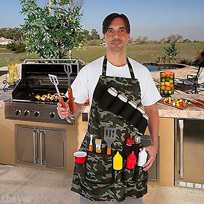 EZ Drinker Camouflage Grill BBQ Picnic Kitchen Sauce Tool Cutlery Holder Apron