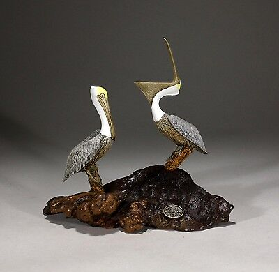 Pair of PELICANS Statue New direct from JOHN PERRY 7in tall Sculpture on Wood
