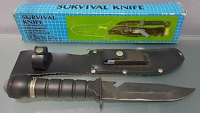 ID) Survival Knife for Hunting Camping Fishing Outdoor Compass Sharpening Stone