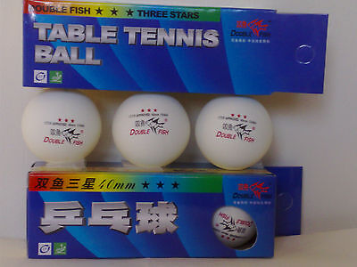 3 Table Tennis Double Fish Three 3 Stars Ping Pong Balls 40mm-ITTF Approved