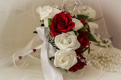 WEDDING FLOWERS ADULT BRIDESMAID small brides  BOUQUET IN WHITE AND RED