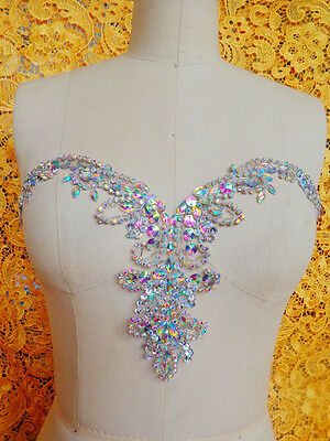 Pure handmade sew on Rhinestones applique crystals patches dress accessory