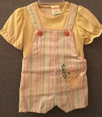 Vintage 2 Piece Baby Short Overalls Striped Ruffled Shirt Kitty Cat Made in USA