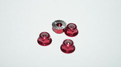 Losi Mini 8ight-T serrated flange wheel locknuts, anodised red