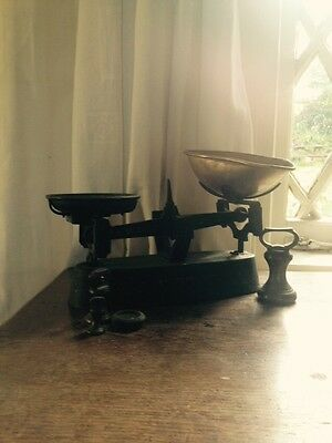 Vintage Weighing Scales And Four Weights