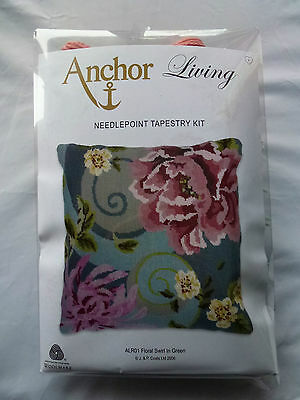 Bnip Anchor Living Needlepoint Tapestry Kit Floral Swirl In Green Cushion Front