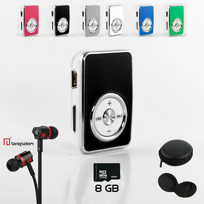 NEOGADS Mp3 Player Crome Clip Set + BASS Headset + 8GB Micro SD Karte + Etui