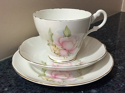 Royal Ascot Cup, Saucer & Side Plate Trio Pink Flower Made in England