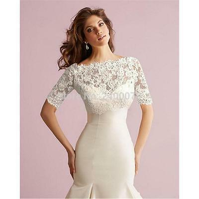 Lace Bolero Jacket Off Shoulder Short Sleeves Covered Button Jackets Bridal Shaw
