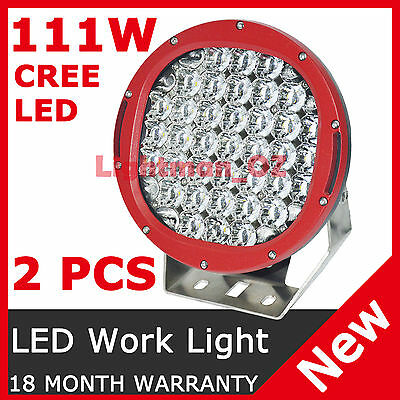 Pair 111W CREE LED DRIVING LIGHTS WORK SPOT OFFROAD TRUCK REPLACE 55W 100W HID