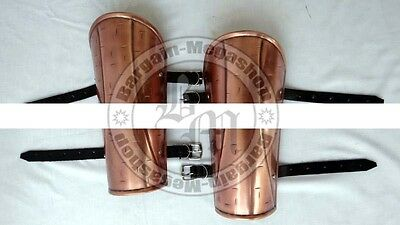 300 King Copper Antique Finish Arm Guard Set Greaves, Roman Armoury Props