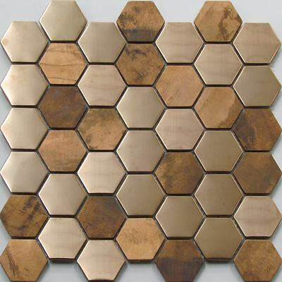 Copper & Stainless Steel Hexagon Wall Mosaic Tiles