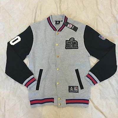 BNWT Majestic Super Bowl 50 Letterman Fleece Jacket Size M