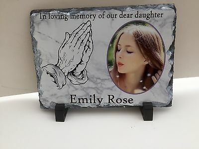 "Memorial Slate Graveside Keepsake Personalised 6x8"" Plus Stand. Rainproof"