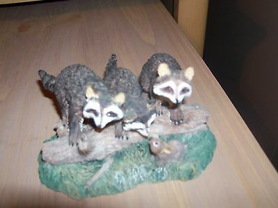 Raccoon Trio Figurine Resin