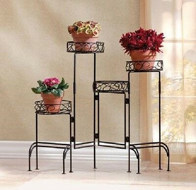 Foldable 4-tier Plant Stand Screen Home Patio Decor