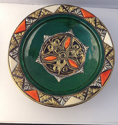 Delightful Vintage Art Pottery w/Metal rised decor Plate PLAQUE/EXC