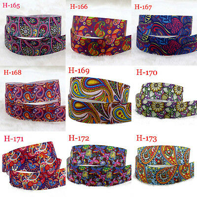 "7/8""22mm Mixed Vintage Ethnic  Printed Grosgrain Ribbon Hairbow FREE SHIPPING F"