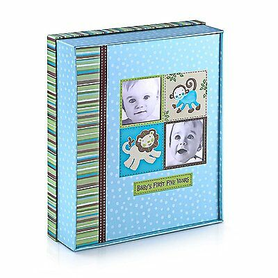 Silly Monkey Baby Boy - Babys First Five Years Keepsake Record Book with Storage