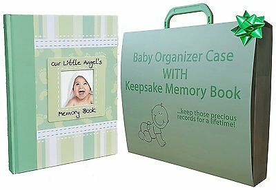 Unique Baby Gifts Set - Organizer With Keepsake Memory Book - MINT GREEN For Boy