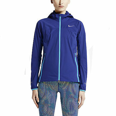 New Nike Women's  Shield Light Running Jacket/navy/blue with hood/repels water