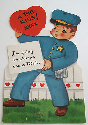 Used Vtg Valentine Card A Big Kiss! I'm Going to Charge You a TOLL Traffic Cop