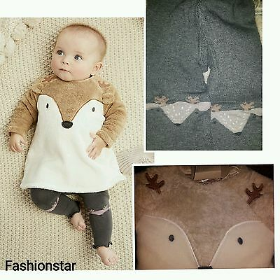 New*bnwt Next Baby Girl 0-1 0-3-6-9-12 Month Fleece Dress & Footless Tights Set