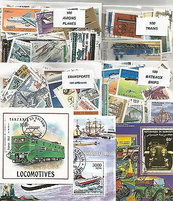 "Lot timbres thematique ""Transports"""
