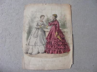 ANTIQUE LITHO HAND TINTED VICTORIAN FRENCH 'LE FOLLET' FASHION PRINT no 1