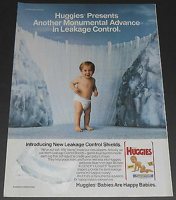 1989 vintage ad - KLEENEX HUGGIES DIAPERS - 1-PAGE PRINT ADVERT - MONUMENTAL