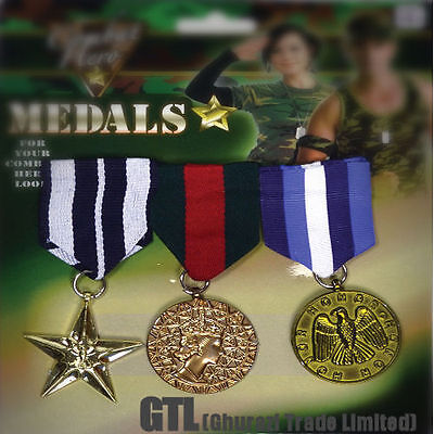 Military Hero Medals Soldier Army War 3 Piece - Kids Adult Jewellery