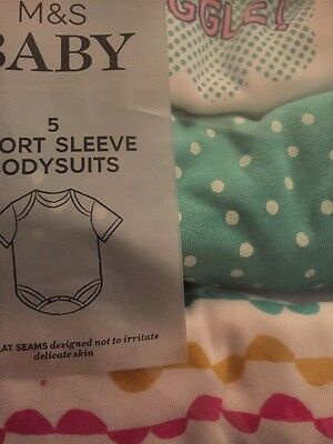 Brand New M&S 5 Pack Short Sleeve Baby Girl  Bodysuits Age 6 To 9 Months RRP £12
