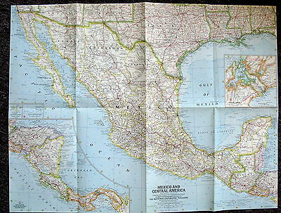 Mexico and Central America --National Geographic Map October 1961