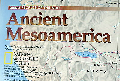 Mesoamerica / Ancient Mesoamericans  National Geographic Map / Poster Dec 1997
