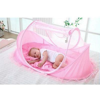 Baby Travel Bed Crib Cradle Play Shades Mosquito Sleeping Tent Pink