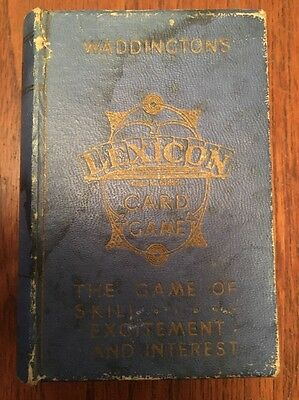 Vintage Waddingtons 1930's Lexicon Card Game in Small Box, Complete Instructions
