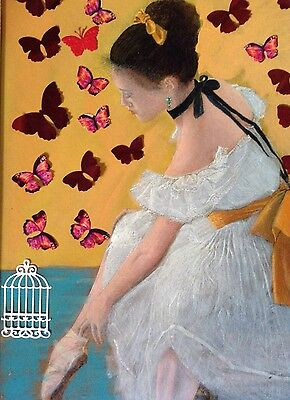 Valentine assemblage mixed media collage ballerina Butterflies Swans