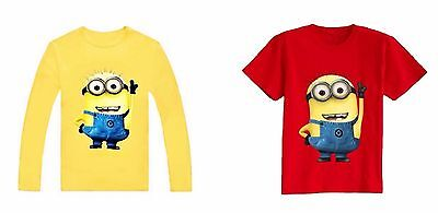 Kids Toddler Baby Minion Cotton Long or Short Sleeve Shirt T-Shirt Top Blouse