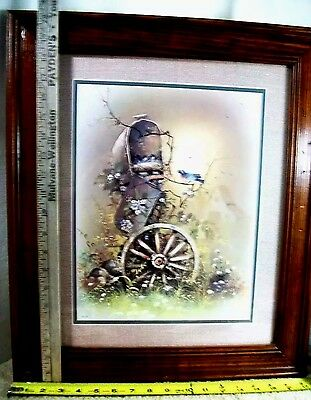 Superbe Vintage Homco Home Interior Bird Mailbox Print B.P. CO Framed Matted 20.5 X  17.5