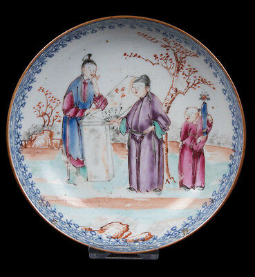 China 18. Jh. Teller - A Chinese Famille Rose 'Mandarin' Saucer - Chinois Cinese